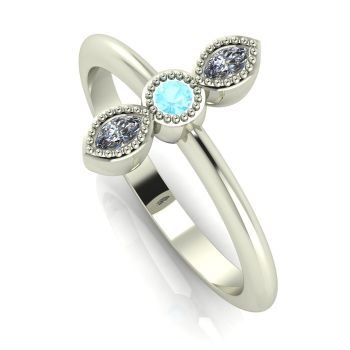 Astraea Trilogy - Aquamarine, Diamond & White Gold Ring