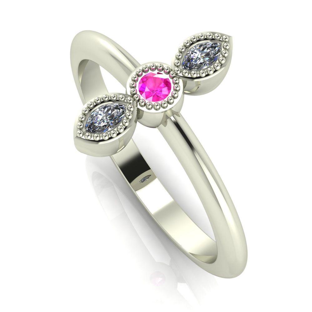 Astraea Trilogy - Pink Sapphire, Diamond & White Gold Ring