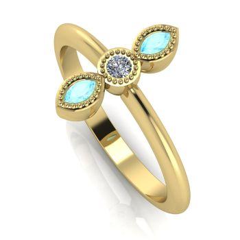 Astraea Trilogy - Aquamarine, Diamond & Yellow Gold Ring