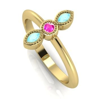Astraea Trilogy - Aquamarine, Pink Sapphire & Yellow Gold Ring