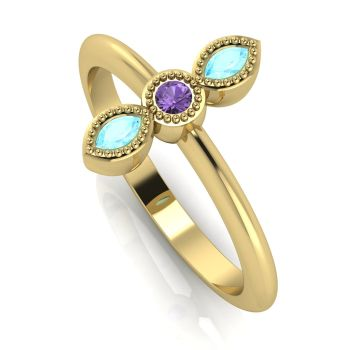 Astraea Trilogy - Aquamarine, Violet Sapphire & Yellow Gold Ring