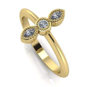 Astraea Trilogy - Diamond & Yellow Gold Ring