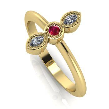 Astraea Trilogy - Ruby, Diamond & Yellow Gold Ring