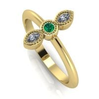 Astraea Trilogy - Emerald, Diamond & Yellow Gold Ring