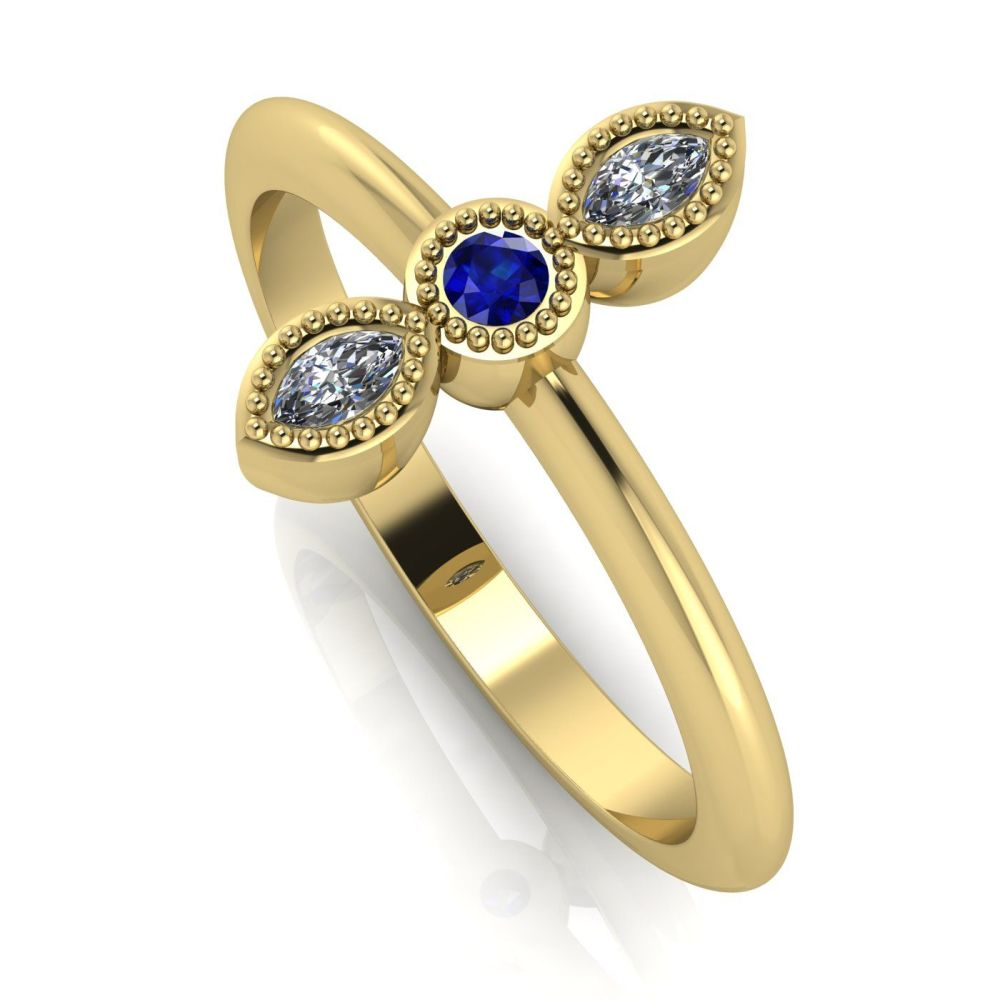 Astraea Trilogy - Sapphire, Diamond & Yellow Gold Ring