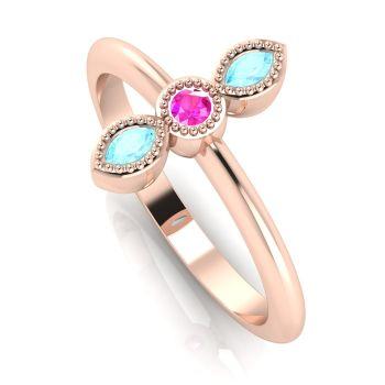 Astraea Trilogy - Aquamarine, Pink Sapphire & Rose Gold Ring