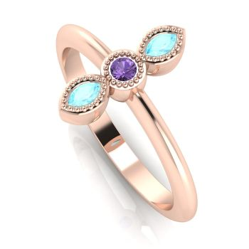 Astraea Trilogy - Aquamarine, Violet Sapphire & Rose Gold Ring