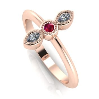 Astraea Trilogy - Diamond, Ruby & Rose Gold Ring