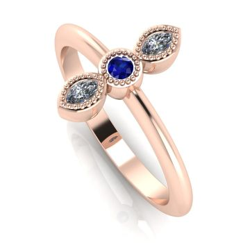 Astraea Trilogy - Diamond, Sapphire & Rose Gold Ring