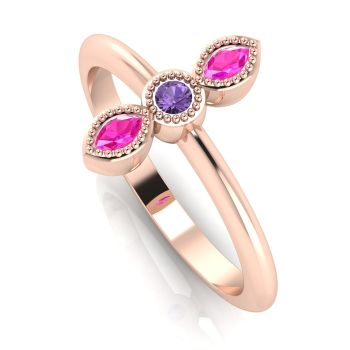 Astraea Trilogy - Pink & Violet Sapphire Set In Rose Gold Ring