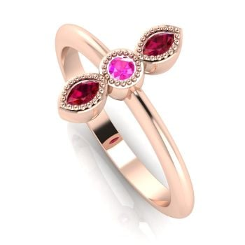 Astraea Trilogy - Ruby, Pink Sapphire & Rose Gold Ring
