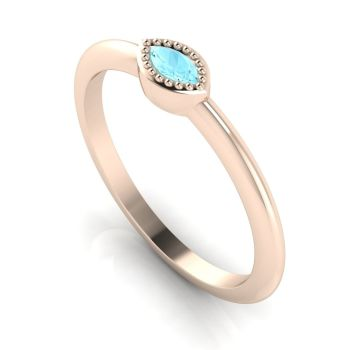 Mini Astraea- Aquamarine & Rose Gold Ring