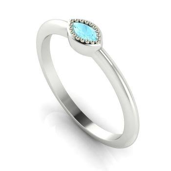 Mini Astraea- Aquamarine & White Gold Ring