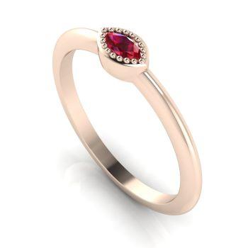 Mini Astraea- Ruby & Rose Gold Ring
