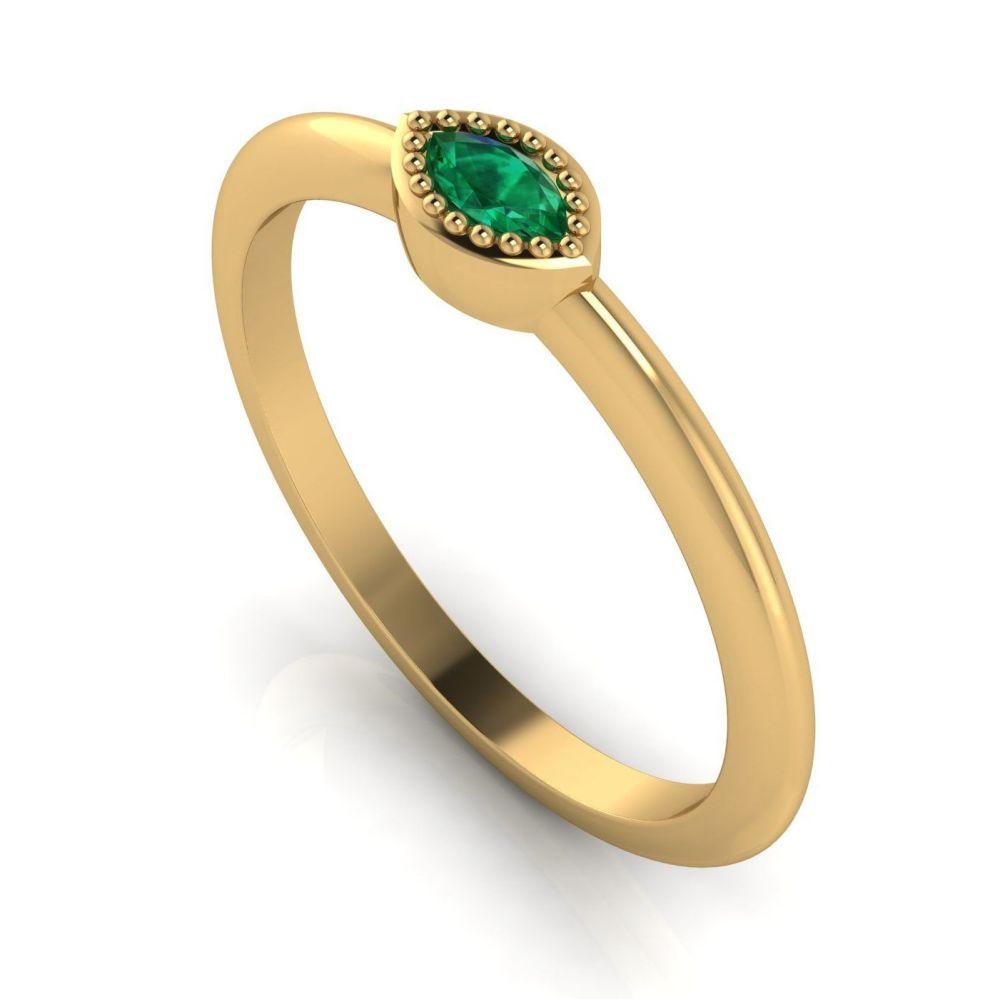Mini Astraea - Emerald & Yellow Gold Ring