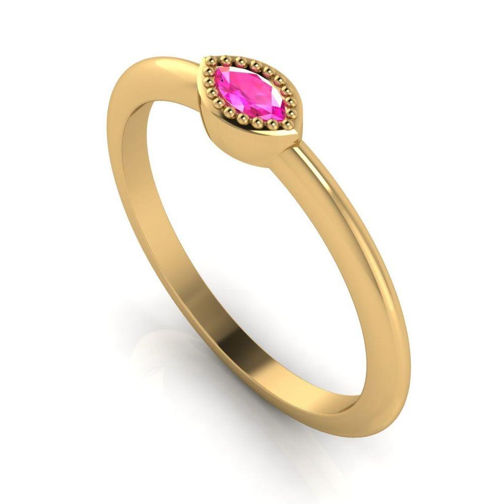 Mini Astraea - Pink Sapphire & Yellow Gold Ring