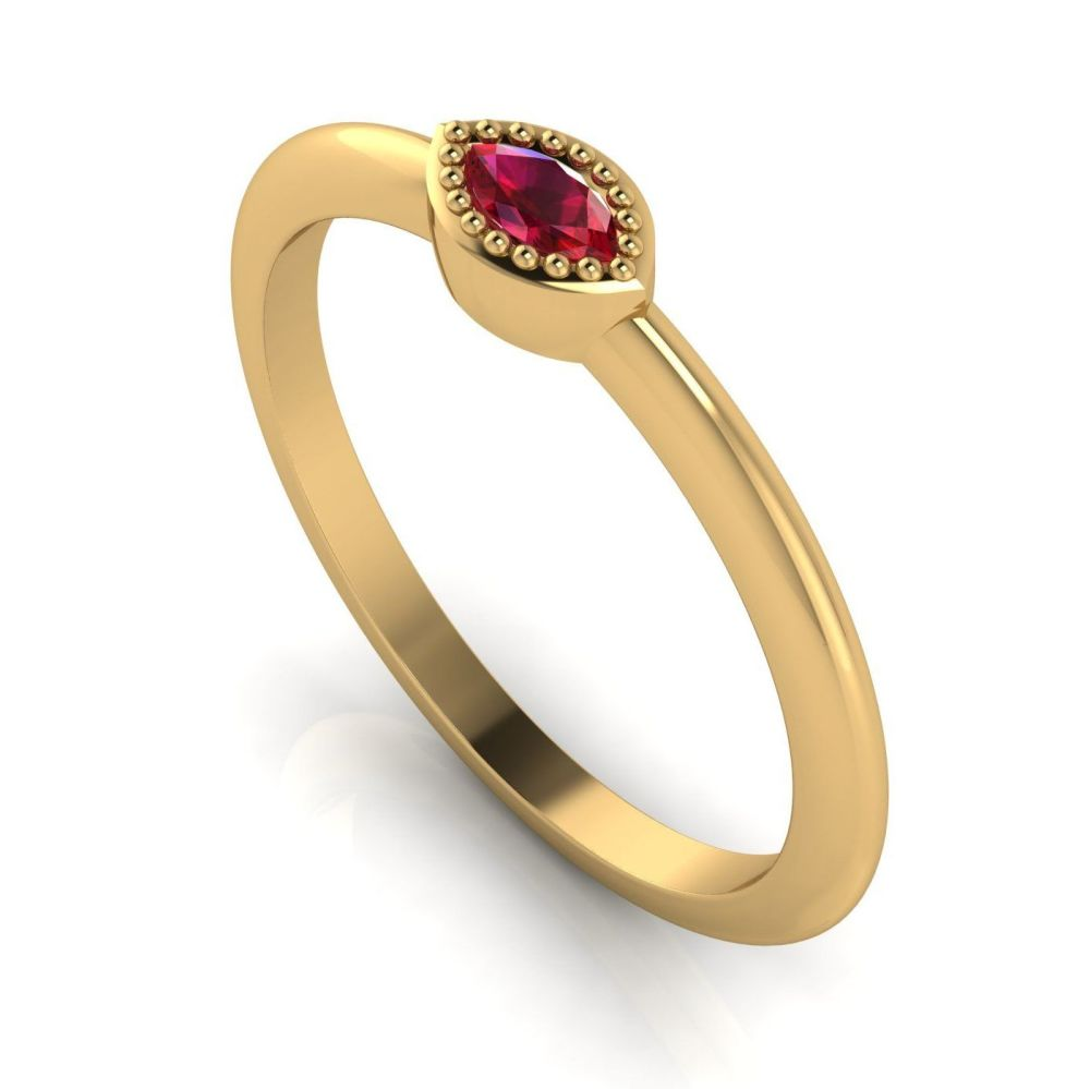 Mini Astraea - Ruby & Yellow Gold Ring