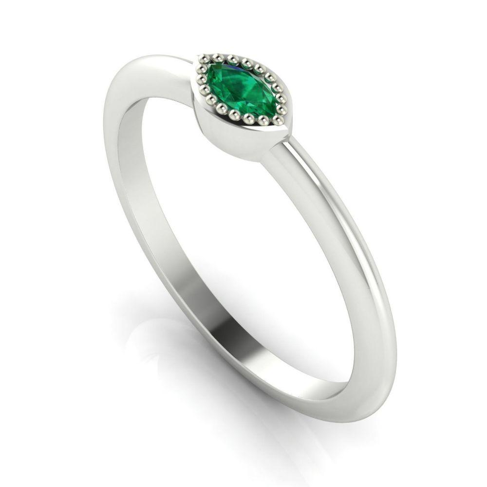 Mini Astraea- Emerald & White Gold Ring
