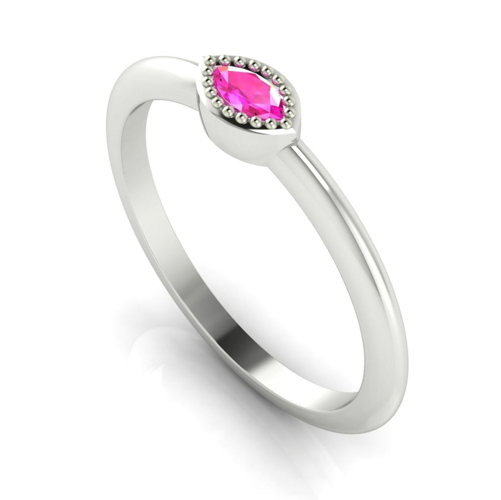 Mini Astraea- Pink Sapphire & White Gold Ring