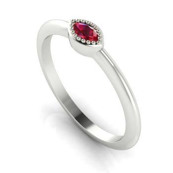 Mini Astraea- Ruby & White Gold Ring