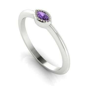 Mini Astraea- Violet Sapphire & White Gold Ring