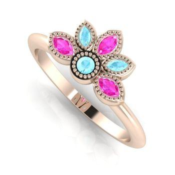 Astraea Liberty Aquamarine, Pink Sapphire & Rose Gold Ring