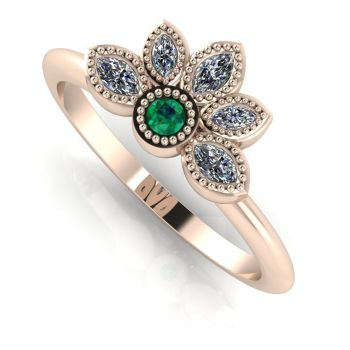 Astraea Liberty Emerald With Diamonds & Rose Gold Ring
