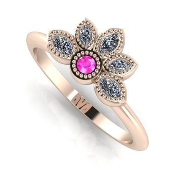 Astraea Liberty Pink Sapphire  With Diamonds & Rose Gold Ring