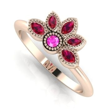 Astraea Liberty Pink Sapphire With Rubies & Rose Gold Ring