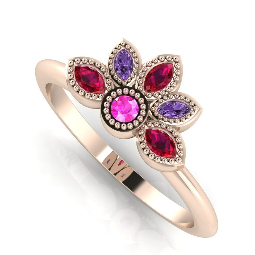 Astraea Liberty Pink Sapphire With Violet Sapphires, Rubies & Rose Gold Rin