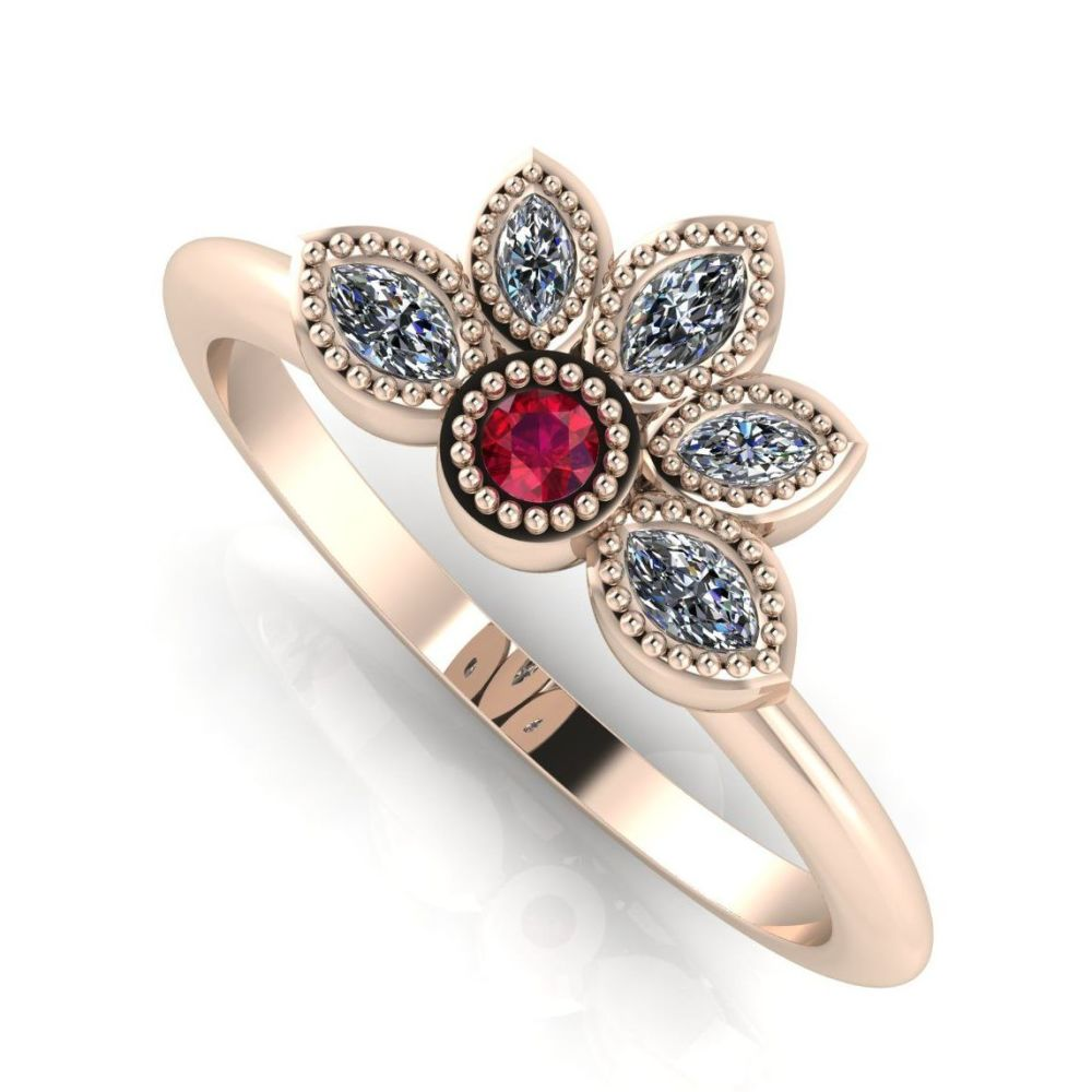 Astraea Liberty Ruby With Diamonds & Rose Gold Ring