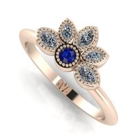 Astraea Liberty Sapphire With Diamonds & Rose Gold Ring