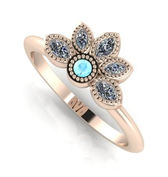 Astraea Liberty Aquamarine With Diamonds & Rose Gold Ring