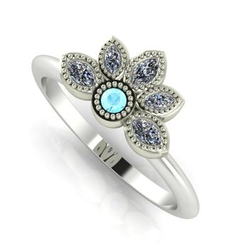 Astraea Liberty Aquamarine With Diamonds & White Gold Ring