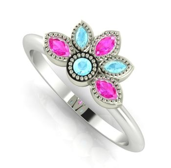 Astraea Liberty Aquamarines, Pink Sapphire & White Gold Ring