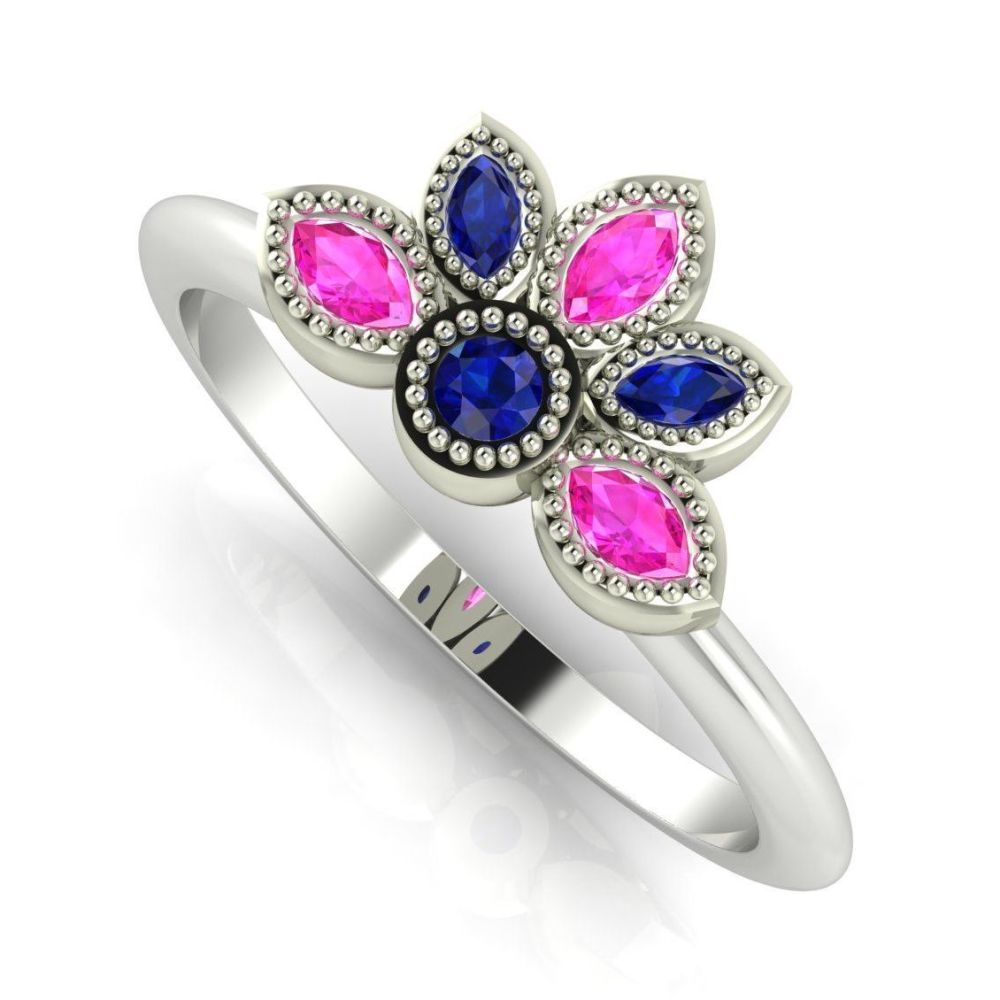 Astraea Liberty Blue & Pink Sapphire With Rose Gold Ring