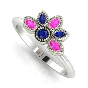 Astraea Liberty Blue & Pink Sapphire With White Gold Ring