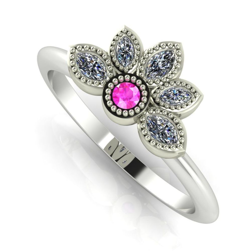 Astraea Liberty Pink Sapphire With Diamonds & White Gold Ring