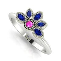 Astraea Liberty Pink Sapphire With Blue Sapphires & White Gold Ring