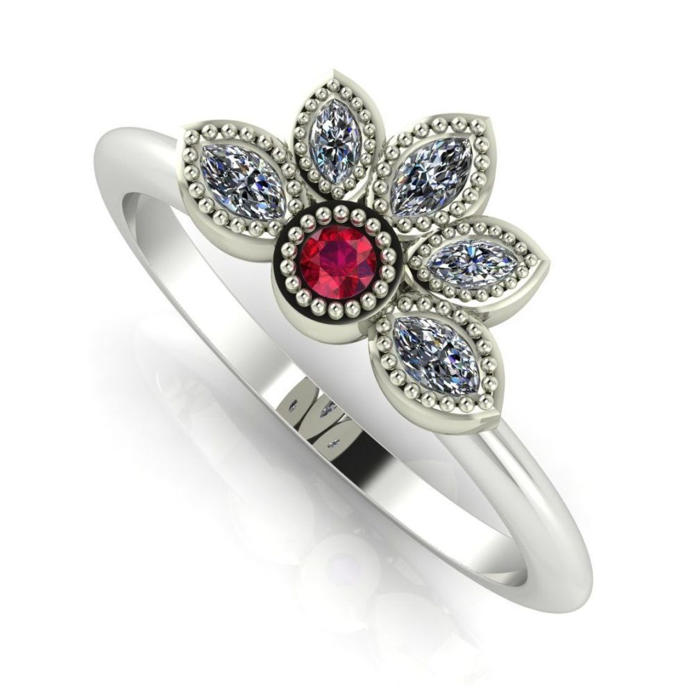 Astraea Liberty Ruby With Diamonds & White Gold Ring