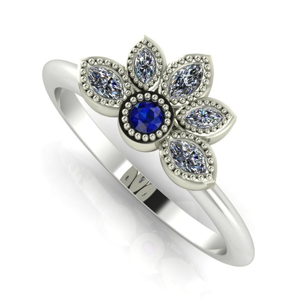 Astraea Liberty  Sapphire With Diamonds & White Gold Ring