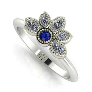 Astraea Liberty  Sapphire With Diamonds & White Gold Ring