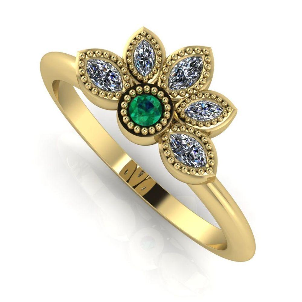 Astraea Liberty Emerald & Diamonds Gold Ring