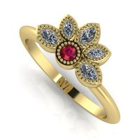 Astraea Liberty Ruby With Diamonds Gold Ring