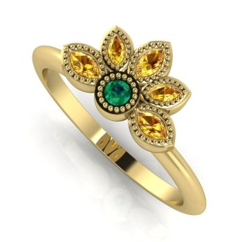 Astraea Liberty Emerald With Yellow Sapphires Gold Ring