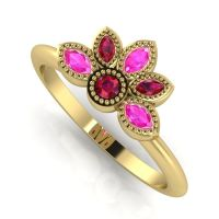 Astraea Liberty Ruby With Pink Sapphires Gold Ring