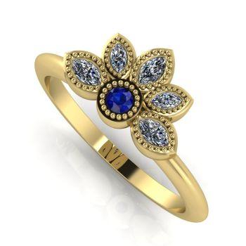 Astraea Liberty Sapphire With Diamonds Gold Ring