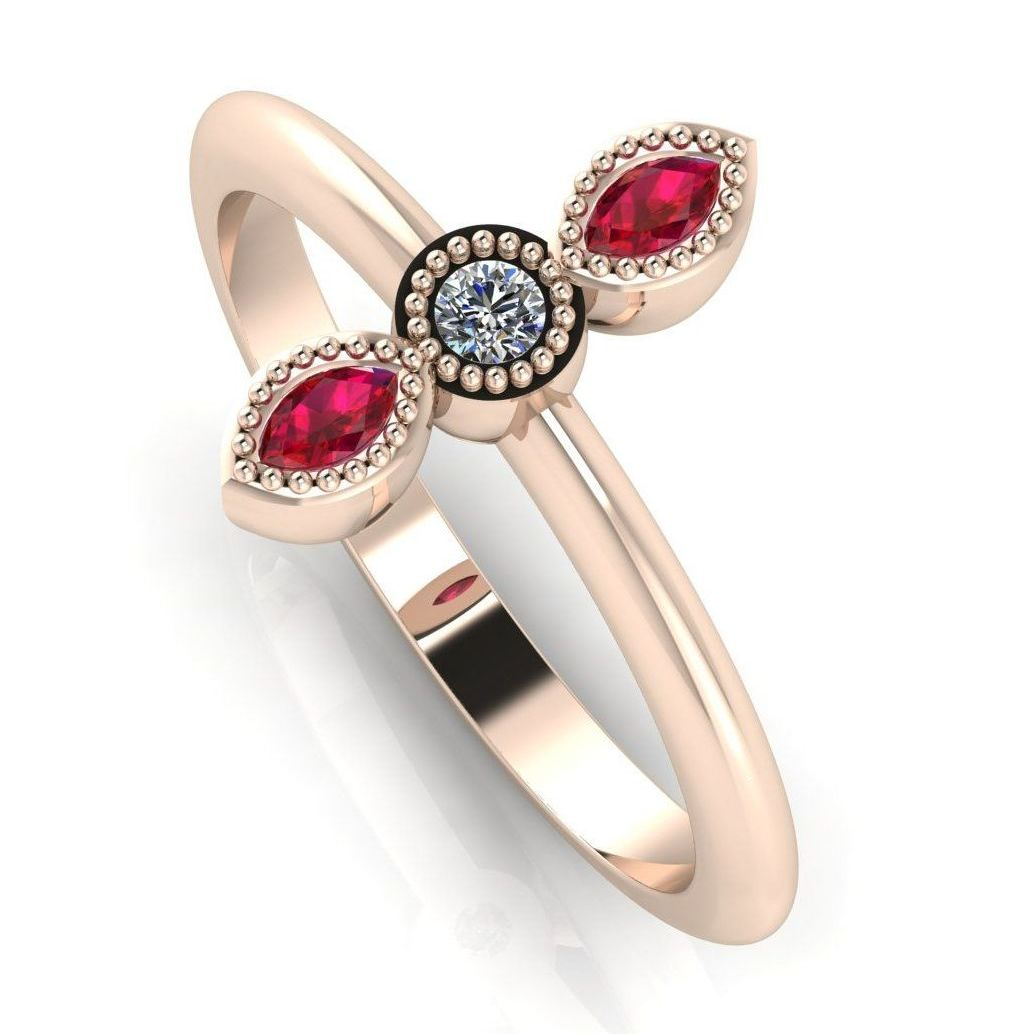 Astraea Trilogy - Diamond With Rubies & Rose Gold Ring