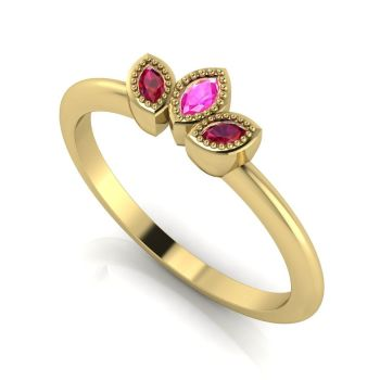 Astraea Echo - Rubies, Pink Sapphire & Yellow Gold Ring