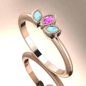 Astraea Echo - Aquamarines, Pink Sapphire & Rose Gold Ring